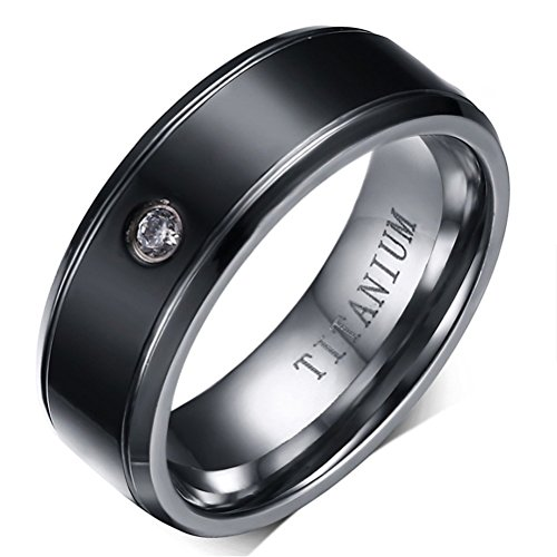 Men Women Couple Titanium CZ Crystal Engagement Wedding Band Ring,Middle Black,Comfort Fit,Size 11