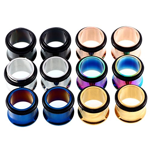 Steel Single Flared Plug (XPIRCN Steel Ear Gauges Set Stainless steel Single Flared Ear Tunnels Plugs Stretcher Jewelry Color Mixed)