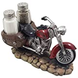 Decorative Red Motorcycle with Glass Salt and