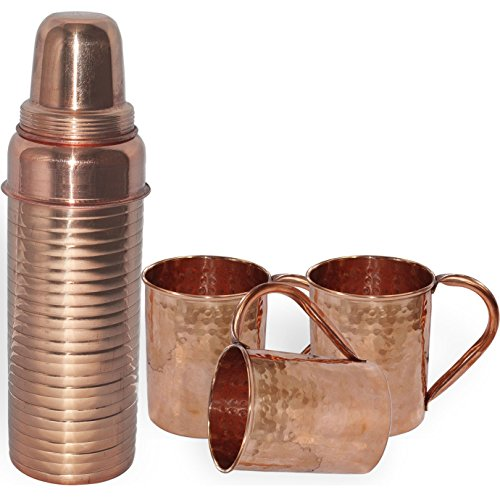 DakshCraft Pure Copper Thermos Lining Bottle with 3 Hammered Copper Moscow Mule Mug Sets