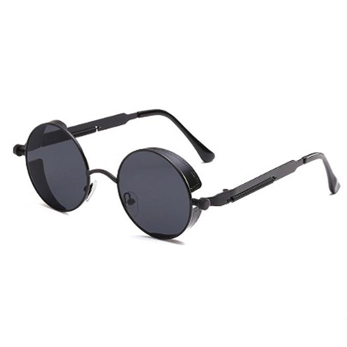 668a908b2977f Spring Legs Steampunk Sunglasses Screws Retro Round Black Frame Black Lenses