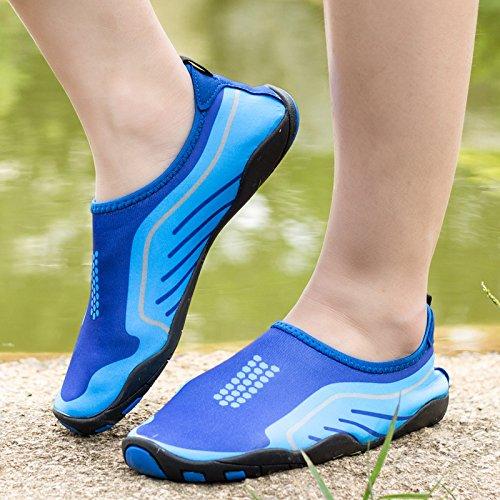 Kitleler Wasser Schuhe für Männer Frauen Barfuß Quick-Dry Aqua mit Drainage Loch für Strand Yoga Schwimmen Hellblau