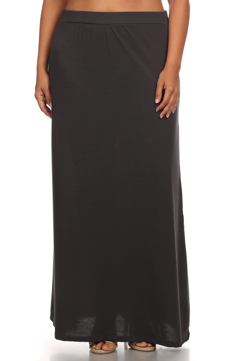 Ambiance Apparel Women's Plus Size Solid Relaxed Fit Maxi Skirt (XXX-Large, Charcoal)