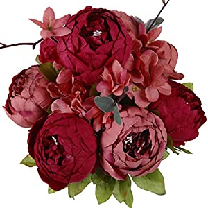 Luyue Vintage Artificial Peony Silk Flowers Bouquet, New Dark Red 70