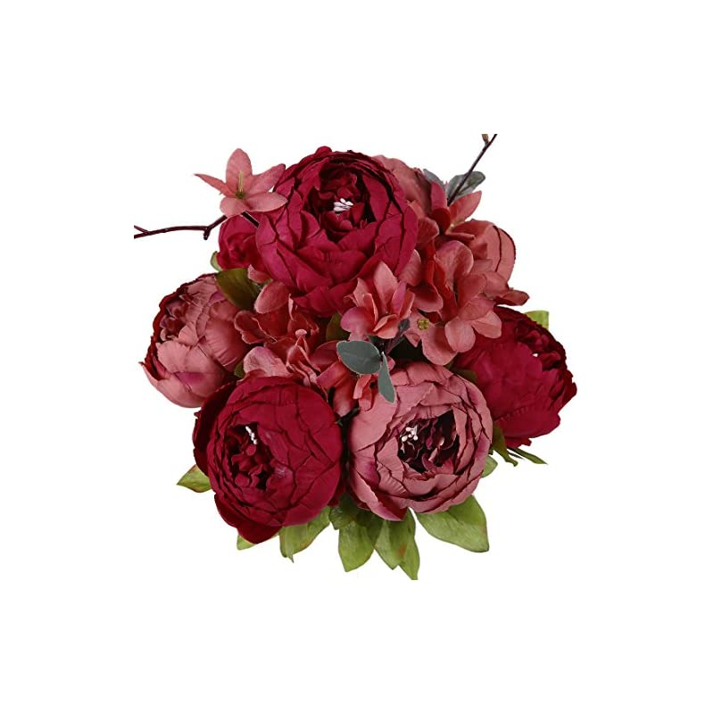 silk flower arrangements luyue vintage artificial peony silk flowers bouquet, new dark red