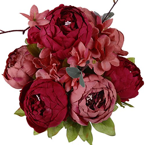 Luyue Vintage Artificial Peony Silk Flowers Bouquet, New Dark Red