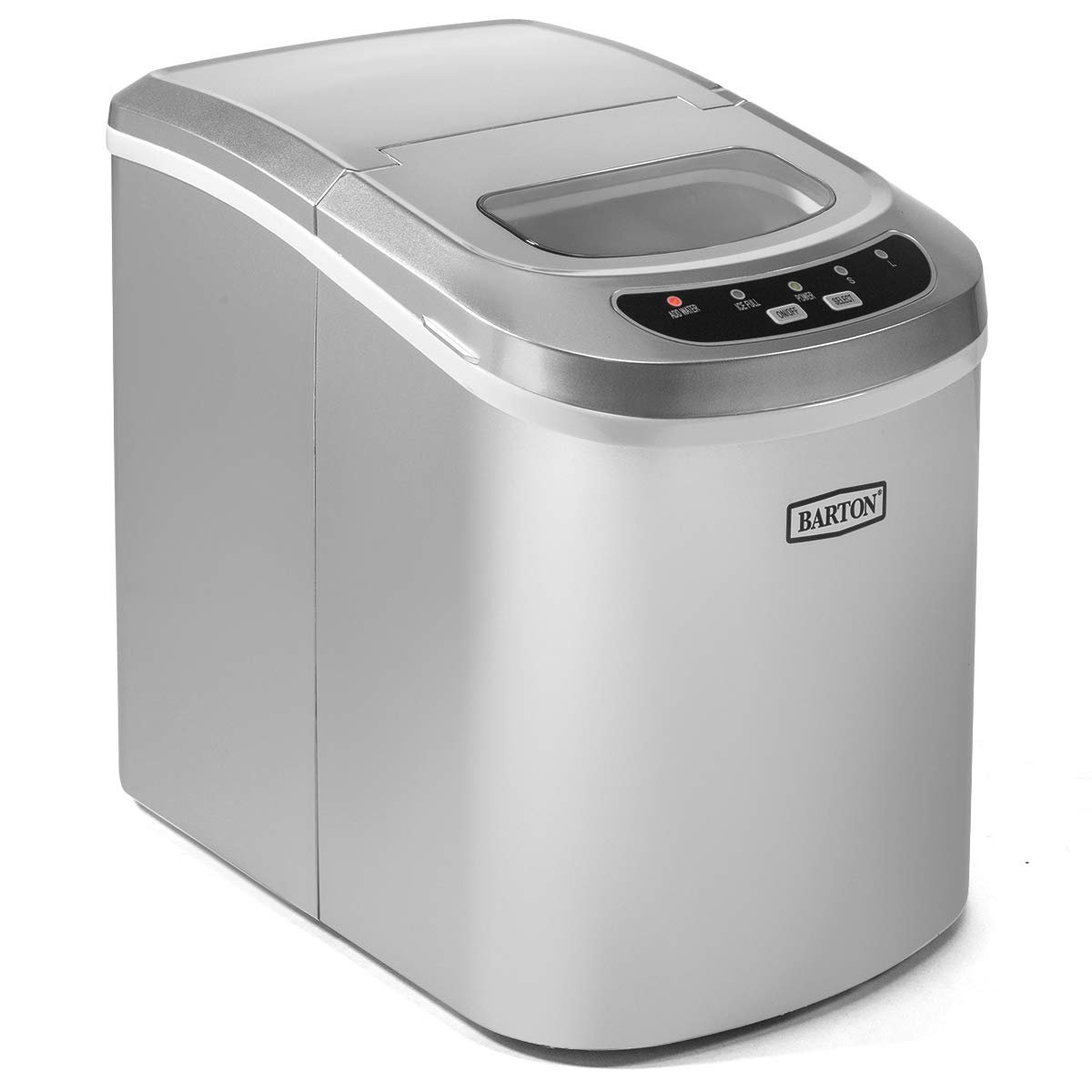 Barton Portable Ice Maker Machine for Counter Top Makes 26 lbs Per Day Ice Cubes ready in 6 Minutes Ice Maker w/Ice Scoop (Silver)