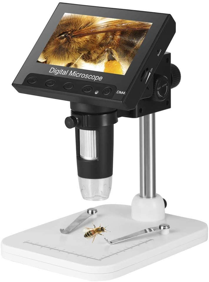 gostcai LCD Digital Microscope 5 Inch HD Screen 220X Magnification Zoom USB Digital Microscope Magnifier Large Screen Adjustable Stand AD205 for Circuit Board Welding