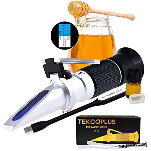 Optics Honey Sugar Moisture Brix Baume Refractometer ATC, Tri-scale 58-90% Brix, 38-43 Be'(Baume) 12-27% Water, Beekeeping, Maple, w/EXTRA Dioptric Oil (For calibration), Reference