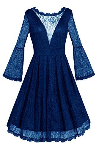Ruiyuhong Deep V Back Indigo Short Lace Bridesmaid Dresses For (Indigo Satin Bridesmaid Dress)
