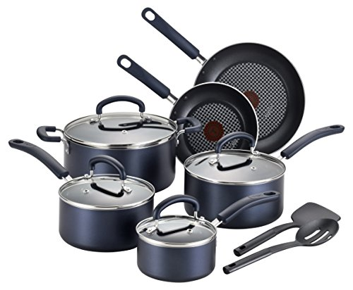 Colour Spot (T-fal B129SC Color Luxe Hard Titanium Nonstick Thermo-Spot Dishwasher Safe PFOA Free Cookware Set, 12-Piece, Blue)