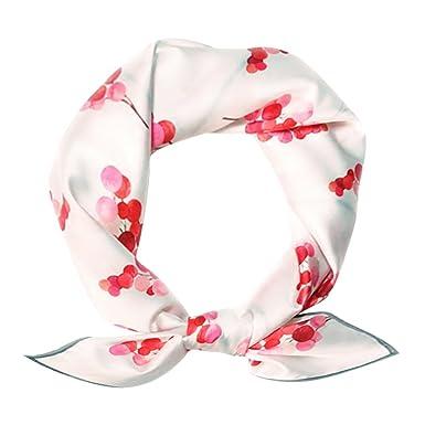 a7489d48c901 DAMILY Foulard Femme - Rouge Cerise Imprimer 20 pouces Foulard Carré  (Blanc)  Amazon.fr  Vêtements et accessoires