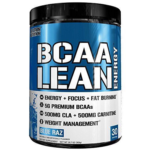 Evlution Nutrition BCAA Lean Energy - Energizing Amino Acid for Muscle Building Recovery and Endurance, with a Fat Burning Formula, 30 Servings (Blue Raz) by Evlution