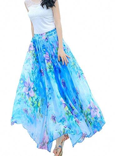 Long Jupe Jupe 5 Chiffon Afibi Longueur Design Femmes Pleine H Cheville Maxi Plage Blend xRwHT0BqU8
