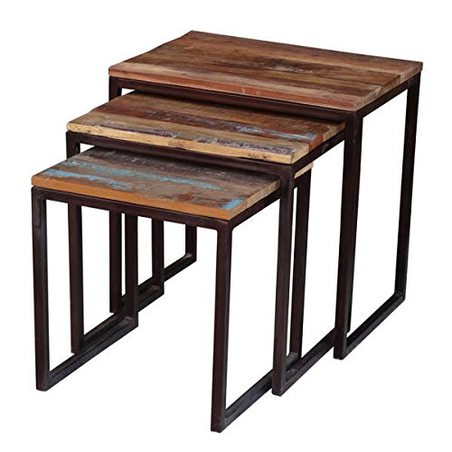 Iron Reclaimed Wood 3 Piece Nesting Table Set (India)