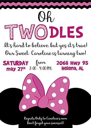 Minnie Oh Toodles Custom Invites Solid or Glitter - Any Age -