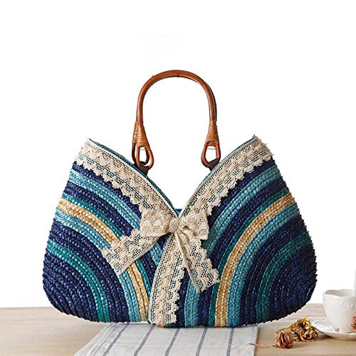 - ShouJiao Lady Bali Beach Summer Tote Bags Bohemia Straw Woven Hand Made Wicker Knitted Totes Rattan Bags Blue