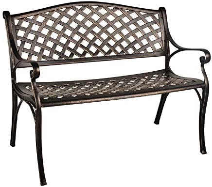 GIODIR Outdoor Patio Garden Bench All-Weather Cast Aluminum Loveseats Park Yard Furniture Porch Chair Work Entryway Decor w/Checkered Design Bronze