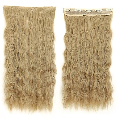 S-noilite22 inches Corn Wave One Piece Clip in Hair Extensio