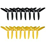 RAYCORP 5040 3-Blades 5x4x3 Propellers. 16 Pieces (8CW, 8CCW) Black & Yellow 5-inch Tri Blades Quadcopter & Multirotor Props + Battery Strap