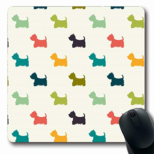 Ahawoso Mousepads for Computers Green Puppy Dog On Polka Wildlife West Terrier Highland Pattern Cute Mammal Oblong Shape 7.9 x 9.5 Inches Non-Slip Oblong Gaming Mouse Pad