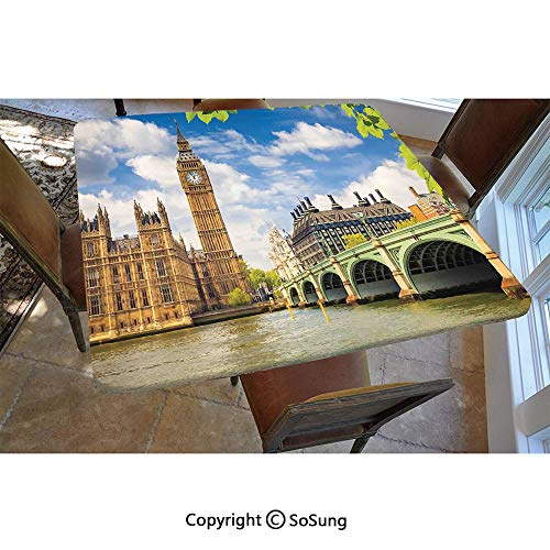 London Polyester Fitted Tablecloth,Historical Big Ben and Westminster Bridge Fresh Spring Season Leaves Picture Square Elastic Edge Fitted Table Cover,Fits Square Tables 48x48 Blue Green Ivory (Ontario Room London Furniture Dining)