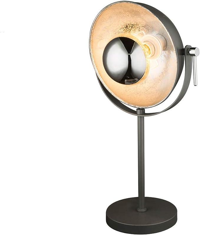 Tischleuchte Globo Retro Tischlampe schwarz gold mit LED Reflektor schwenkbar