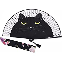 Amajiji Women Lovely Black Cat Folding Silk Fan Handheld Fan for Wedding, Dancing, Church, Party, Gifts (Black)