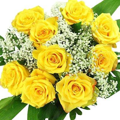 Geliebte Blumenstrauß gelbe Rosen - 10 x gelbe Rose mit Schleierkraut @PT_22