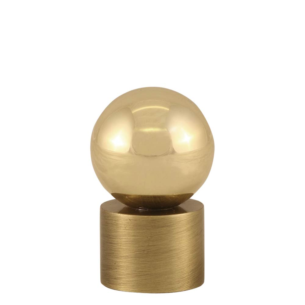 Polished Brass Ball on Cylinder Finial Contemporary Modern Lighting Lamp Topper Solid Brass