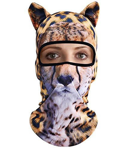 3D Animal Ears Balaclava Hood Breathable Windproof Cover Face Mask Neck Warmer Summer UV Protection Outdoor Sports Motorcycle Cycling Skiing Hunting Hiking Running Tactical CS Game Leopard Halloween