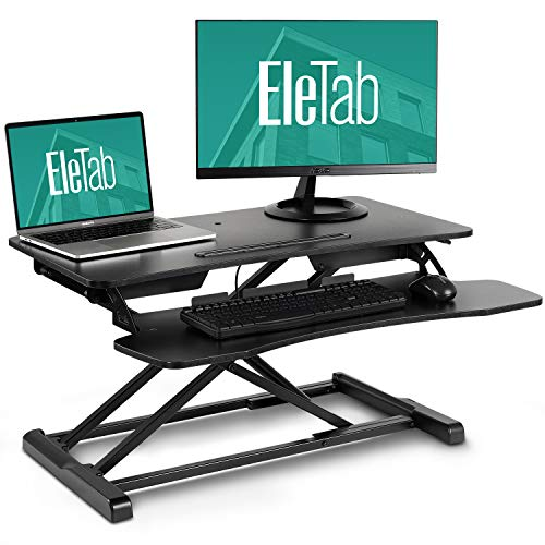 EleTab Standing Desk Converter Sit Stand Desk Riser Stand up Desk Tabletop Workstation fits Dual Monitor 32