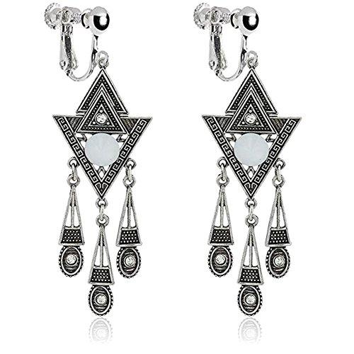 Retro Metal Carved Flower Triangle Dangle Clip on Earrings Long Tassel Teardrop for Kids Girls Women