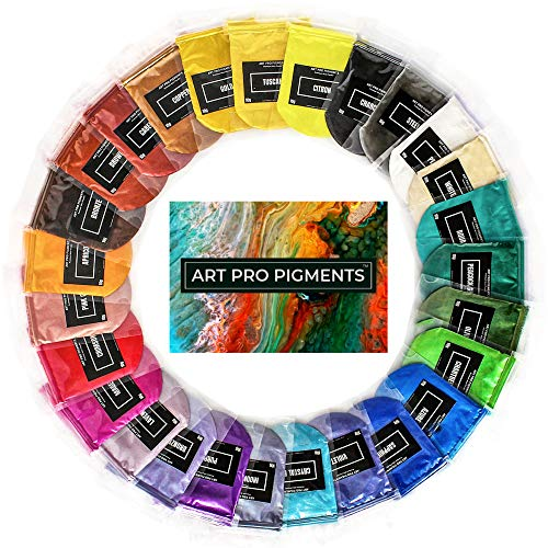 Mica Powder by ART PRO PIGMENTS - Ultimate 27 Color Set - Huge 270g/10g Packs - Perfect for Epoxy Resin, Makeup, Nail Art, Soap, Bath Bomb, Slime - Cosmetic Grade Natural Mica - Brilliant, Non-Toxic
