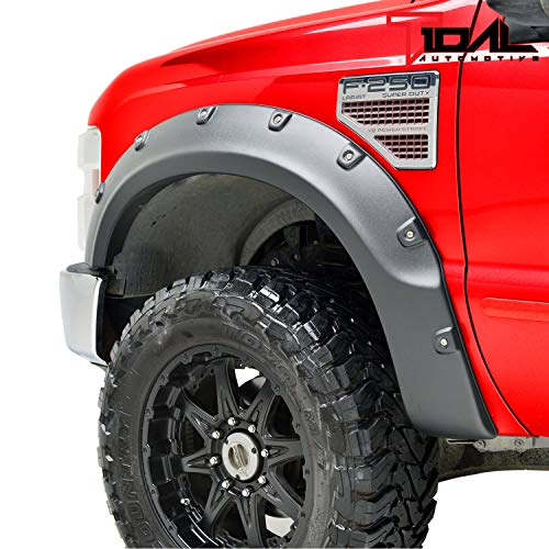 Tidal Fender Flares 4PCS Textured Black Pocket Rivet Style ABS for 08-10 Ford Super Duty ()