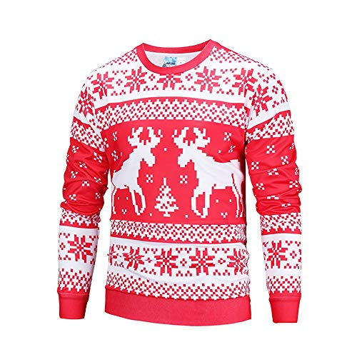 WOCACHI Final Clear Out Christmas Mens Pullover Xmas Reindeer Sweatshirts Sweater Long Sleeve Tops Winter Bottoming Shirts Santa Claus Blouses Jumper - Designer Dog Fab