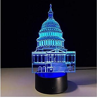 Lámpara de ilusión óptica La Casa Blanca Forma Lámpara de Noche 3D ...
