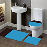 GorgeousHomeLinen (#7) 2 Tone TURQUIOSE/BROWN 3pc Bathroom Set Bath Mat Contour and Toilet Lid Cover with Rubber Backing Rugs