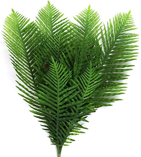 Artificial Plant Ferns 30″ Tall Fake Green Plants Plastic Hanging Plants Fern Tropical Palm Leaves Greenery for Home Jungle Beach Birthday Leave Decor (Green)