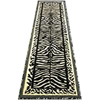 Animal Print Rug Runner 2 Ft. X 7 Ft. 2 Inch. Black / Off-White Kingdom #142