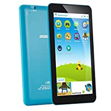 AOSON 7 Inch Kids Tablet Android 6.0 Quad Core IPS Touch Screen Display 16GB KIDOZ Pre installed with Parental Control-iWawa Wifi Dual Camera HD Video 3D Game M753-S3 Tablets PC Blue