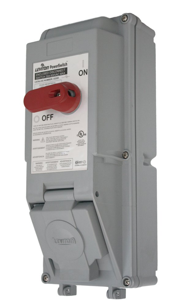 Leviton EDSR-23 30 Amp, 600 Volt, Non-Fused PowerSwitch Safety Disconnect Switch, Rated IP54 & IP66, Gray