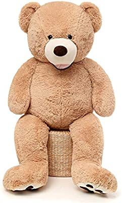 Giant Teddy Bear 130cm Great Present Kid Surprise Large Cuddly Teddy JA-Brown