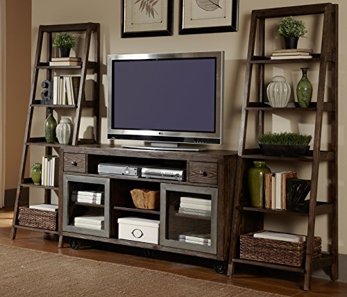 (Liberty Furniture Avignon Entertainment Center with Leaning Piers, Rustic Brown Finish )