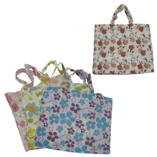 Bulk Buys GM282 Large Flower Tote Bag Assorted Designs Case of 144 by Bulk Buys