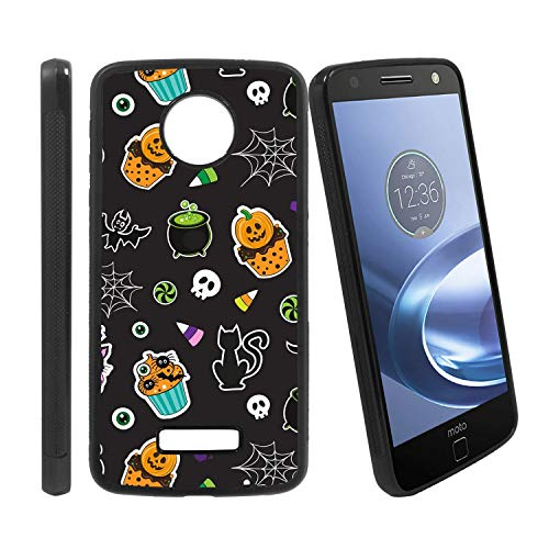 ([Halloween Cupcake Pattern] Compatible with Motorola Z Play/Z Play Droid/Moto Z Force/Z Force Droid, Non-Slip Soft Rubber Side & Hard Back Case Cover Shell)