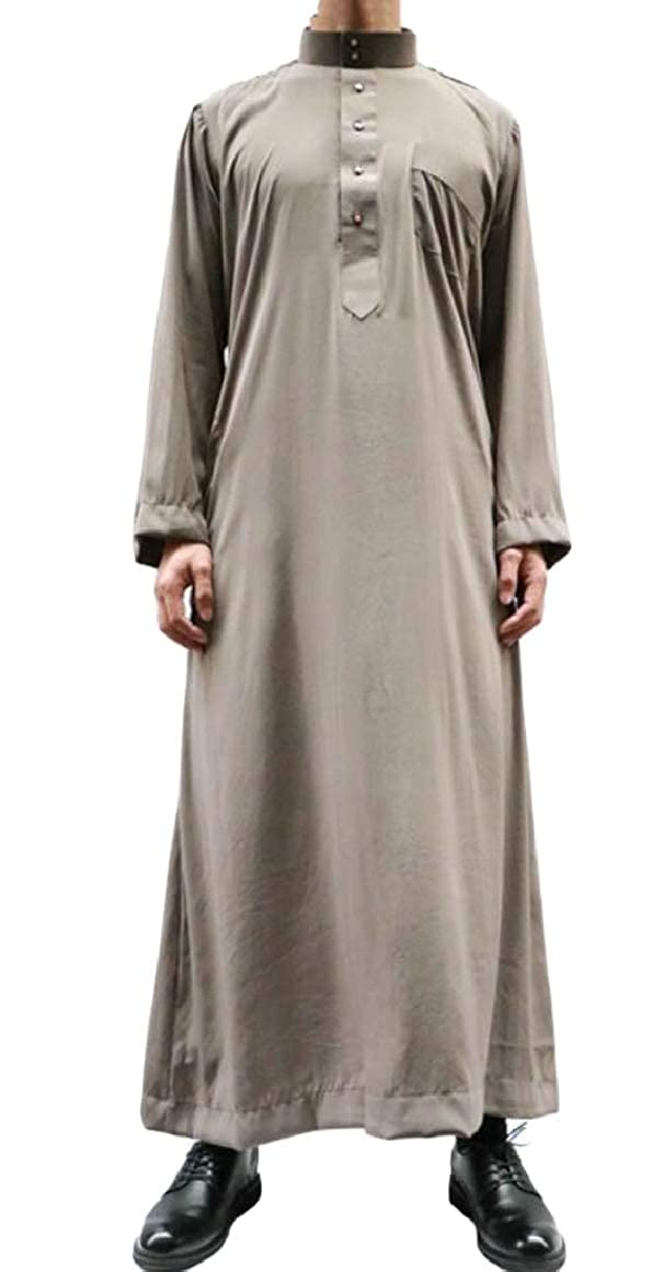 pujingge Mens Long Sleeve Abaya Solid Muslim Stand Collar Islamic Western Shirt