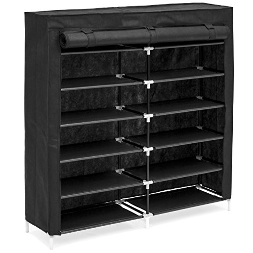 Best Choice Products 6-Tier 36-Shoe Portable Home Shoe Storage Rack Closet Organization System w/Fabric Cover - Black - Home Storage Rack