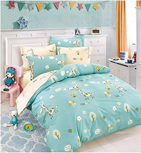 Kids Bedding Teen Duvet Cover Sets Boys or Girls 100% Cotton Full / Queen Reversible Blue and Yellow 3 Pieces (1 Duvet Cover and 2 Pillowcases) Giraffe Print,NO ()