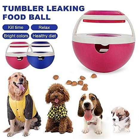blue1 Bola de premios interactiva para Perros NUOCAI Bola de Comida para Mascotas Juguete para Perros y Gatos dispensador de Dulces Vaso de Comida para Mascotas